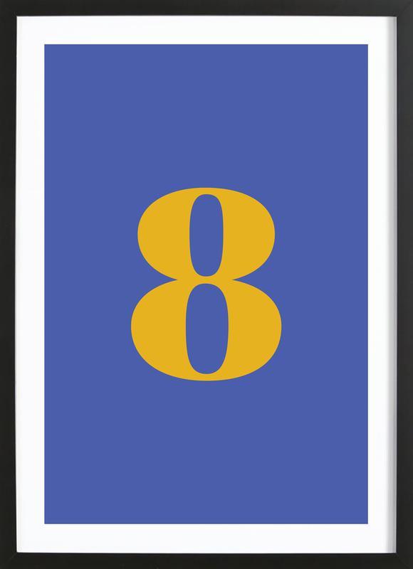 Blue Number 8 affiche sous cadre en bois