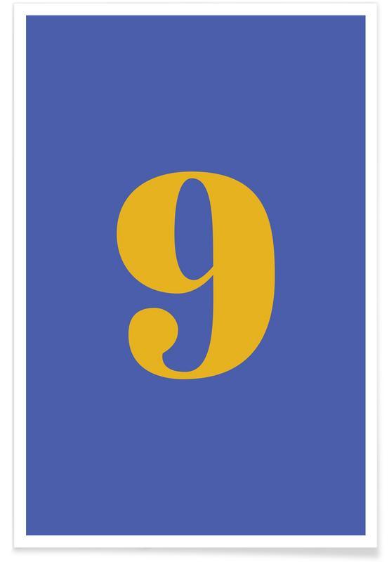 Alfabet og bogstaver, Blue Number 9 Plakat