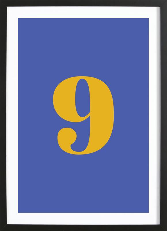 Blue Number 9 Poster i träram