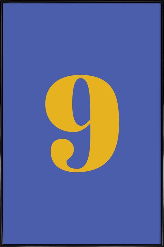 Blue Number 9 Poster i standardram