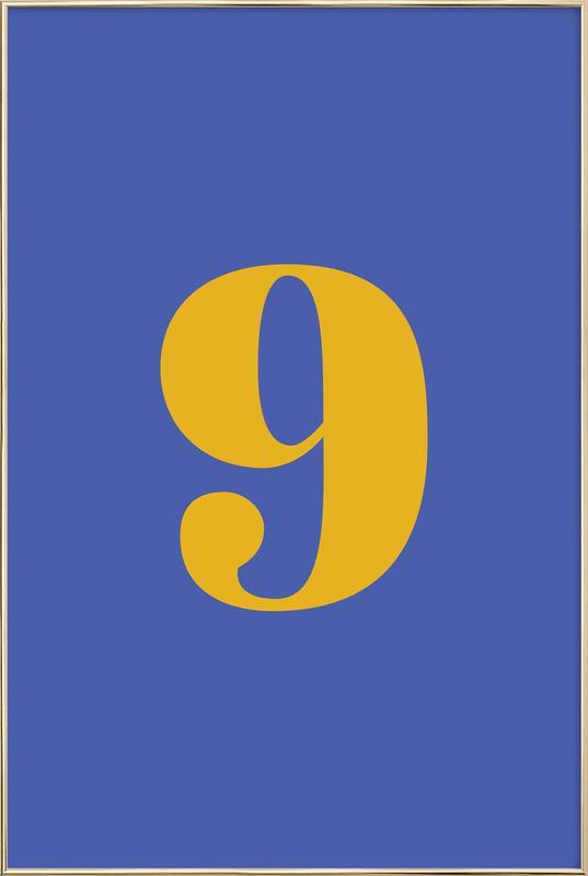Blue Number 9 Poster in Aluminium Frame
