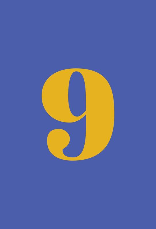 Blue Number 9 alu dibond