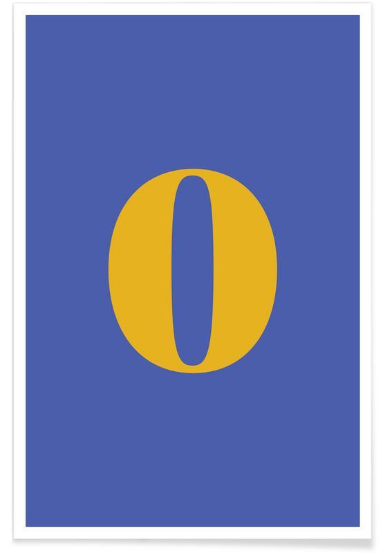 Alfabet og bogstaver, Blue Number 0 Plakat