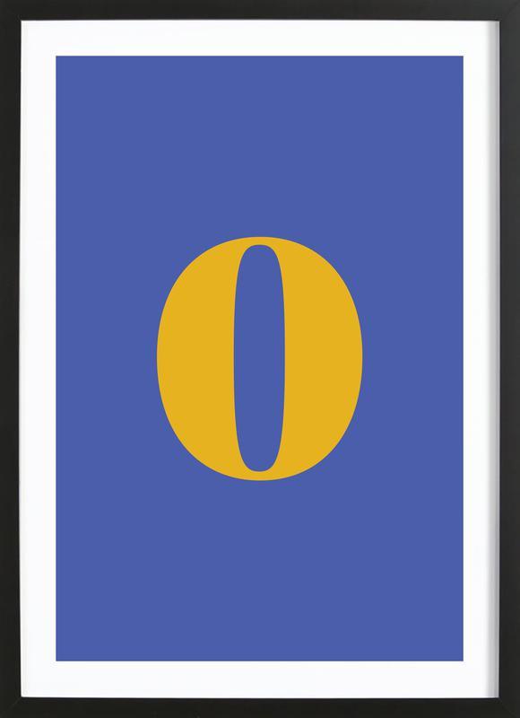Blue Number 0 -Bild mit Holzrahmen
