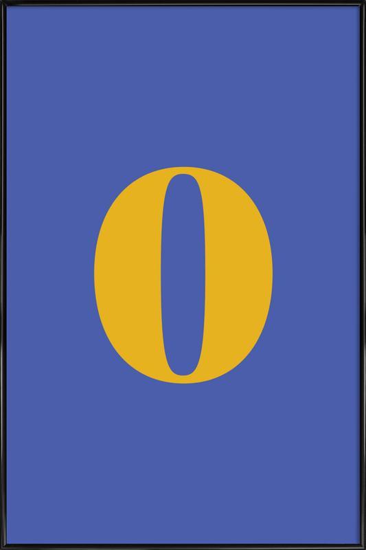 Blue Number 0 Poster i standardram