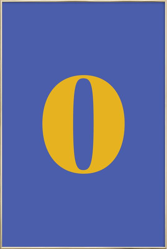 Blue Number 0 -Poster im Alurahmen
