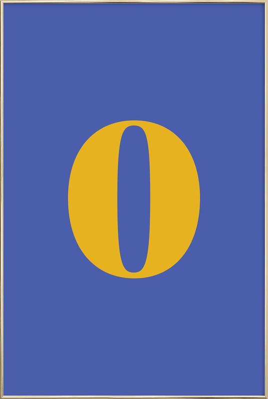 Blue Number 0 Poster in Aluminium Frame