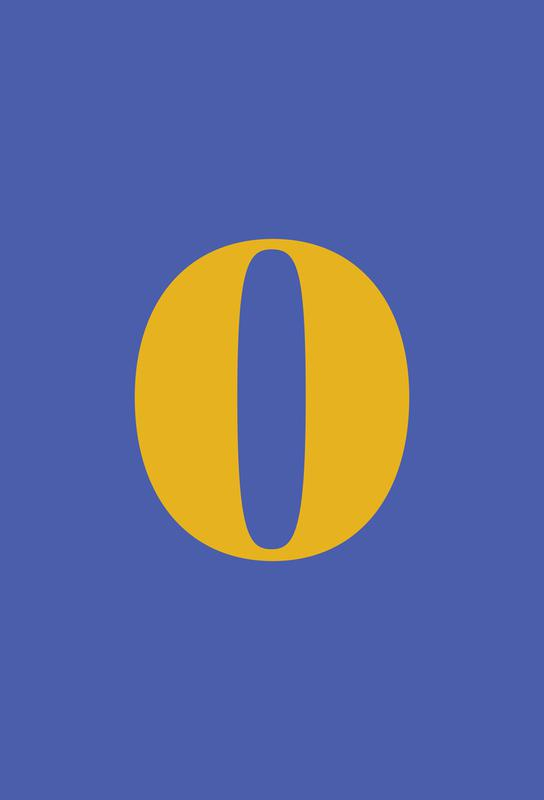 Blue Number 0 Akrylglastavla