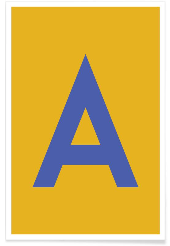 Yellow Letter A affiche