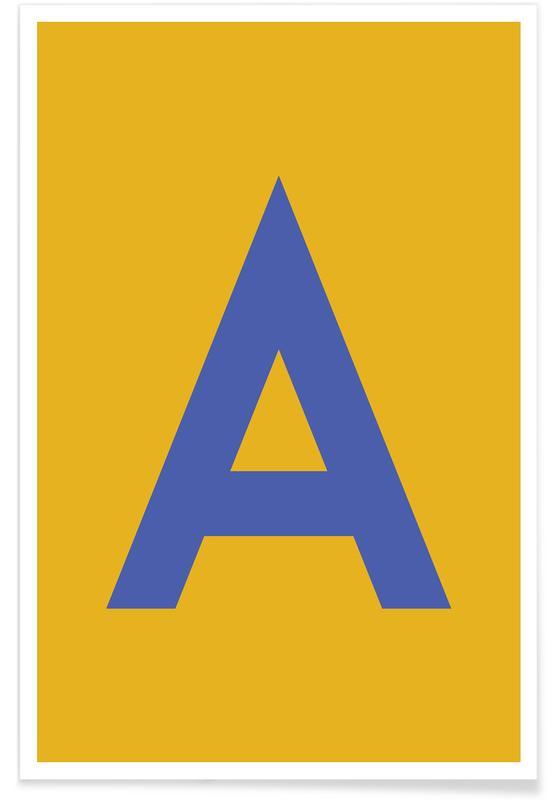 Alfabet og bogstaver, Yellow Letter A Plakat