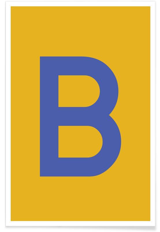 Abecedario y letras, Yellow Letter B póster