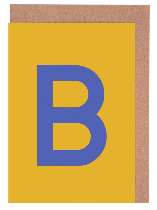 Yellow Letter B Greeting Card Set