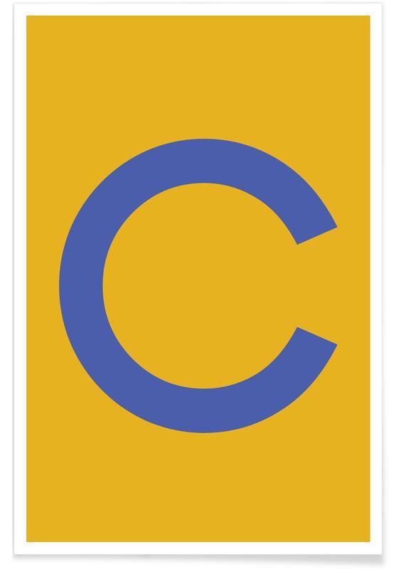 Alfabet og bogstaver, Yellow Letter C Plakat