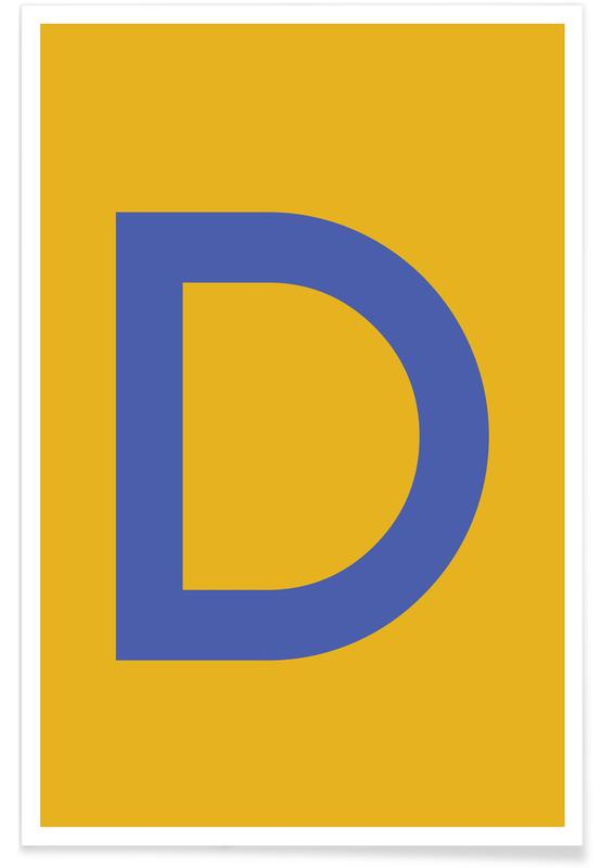 Alfabet og bogstaver, Yellow Letter D Plakat