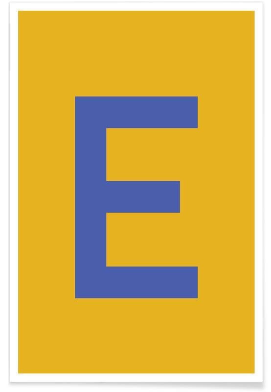 Yellow Letter E Plakat