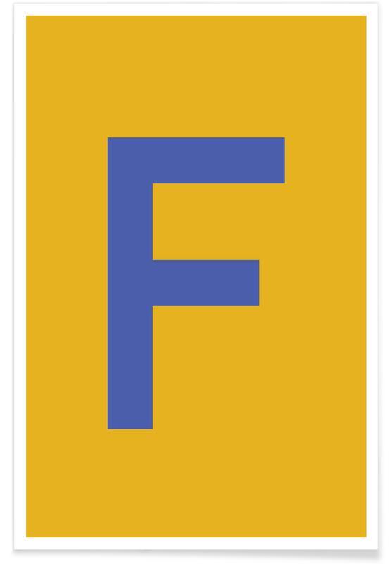 Abecedario y letras, Yellow Letter F póster