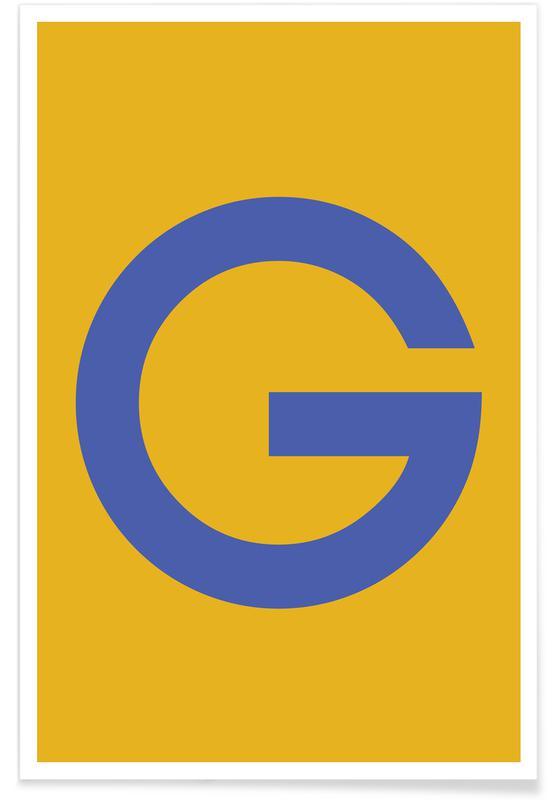 Alfabet og bogstaver, Yellow Letter G Plakat