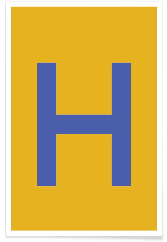 Yellow Letter H affiche