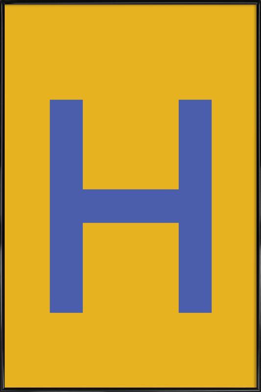 Yellow Letter H Poster i standardram