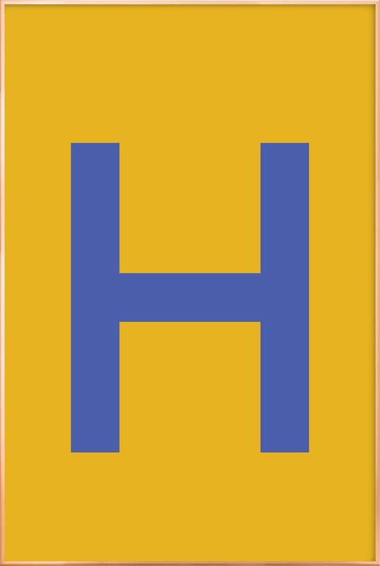 Yellow Letter H Poster i aluminiumram