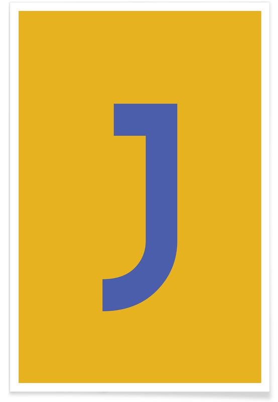 Yellow Letter J Poster