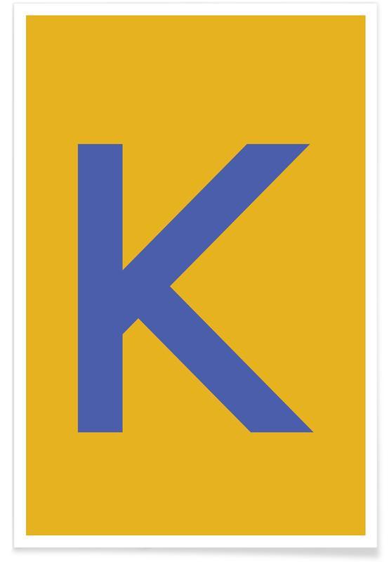 Alfabet og bogstaver, Yellow Letter K Plakat