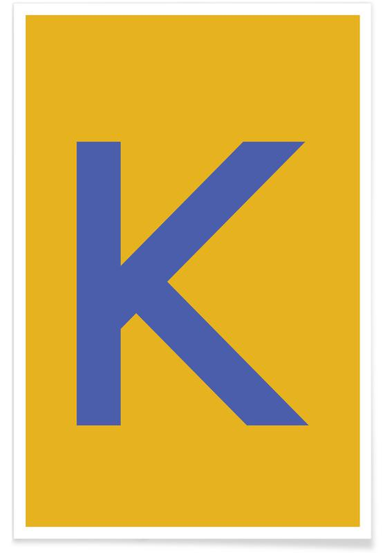 Yellow Letter K Poster