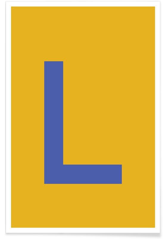 Abecedario y letras, Yellow Letter L póster