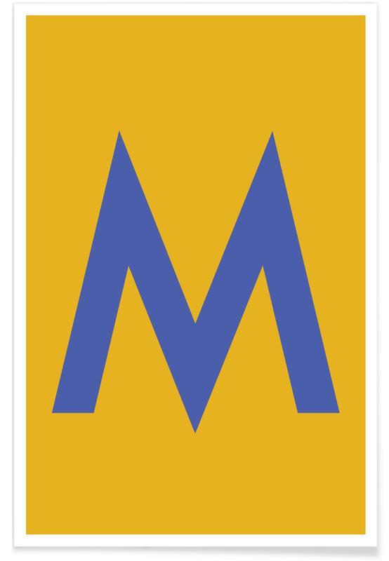 Yellow Letter M Plakat