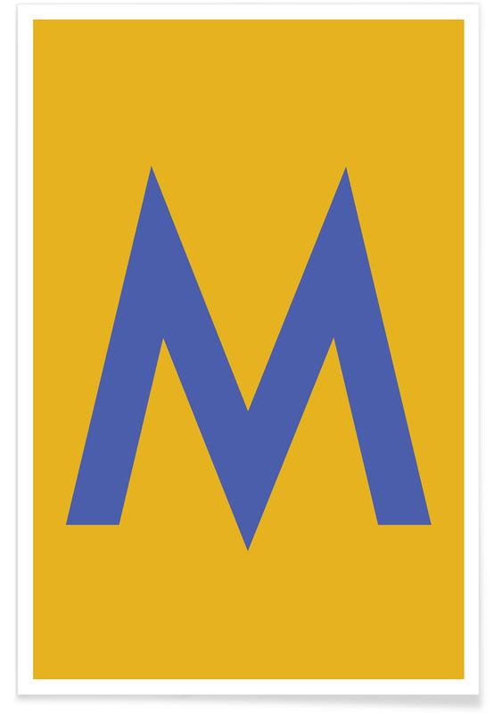 Yellow Letter M Poster