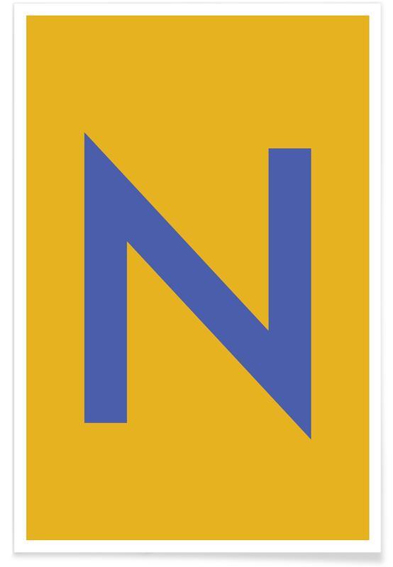 Abecedario y letras, Yellow Letter N póster