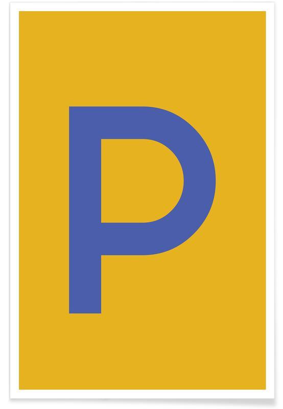 Abecedario y letras, Yellow Letter P póster