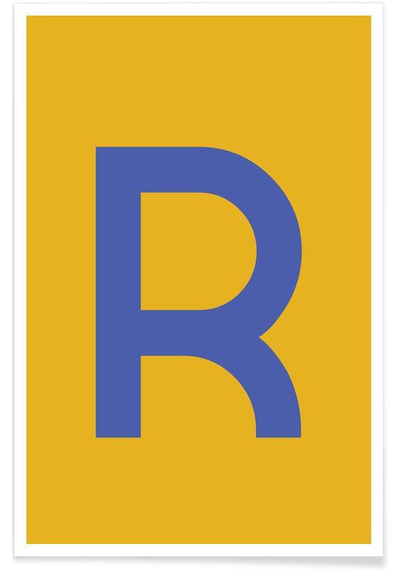 Alfabet og bogstaver, Yellow Letter R Plakat
