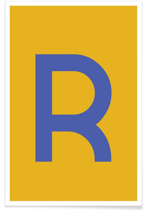 Yellow Letter R Poster