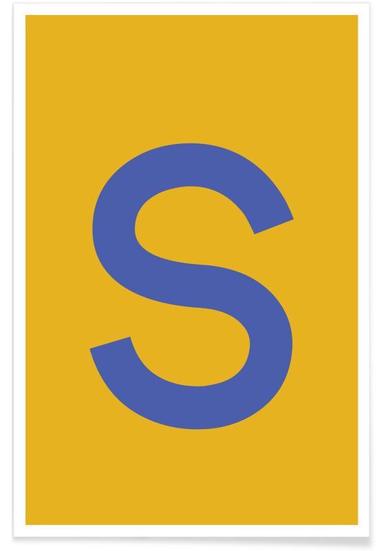 Abecedario y letras, Yellow Letter S póster