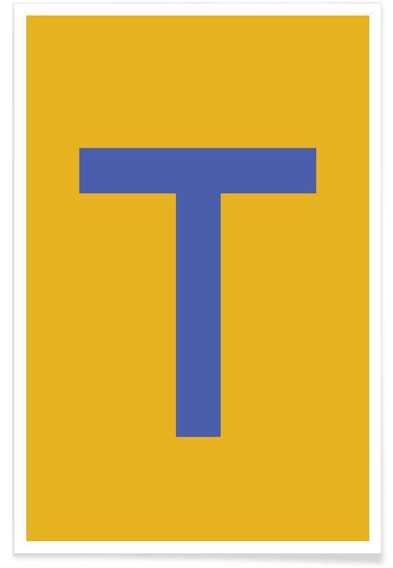 Alfabetet & bokstäver, Yellow Letter T Poster