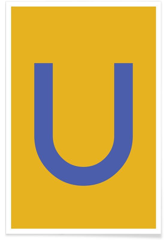 Alfabet og bogstaver, Yellow Letter U Plakat