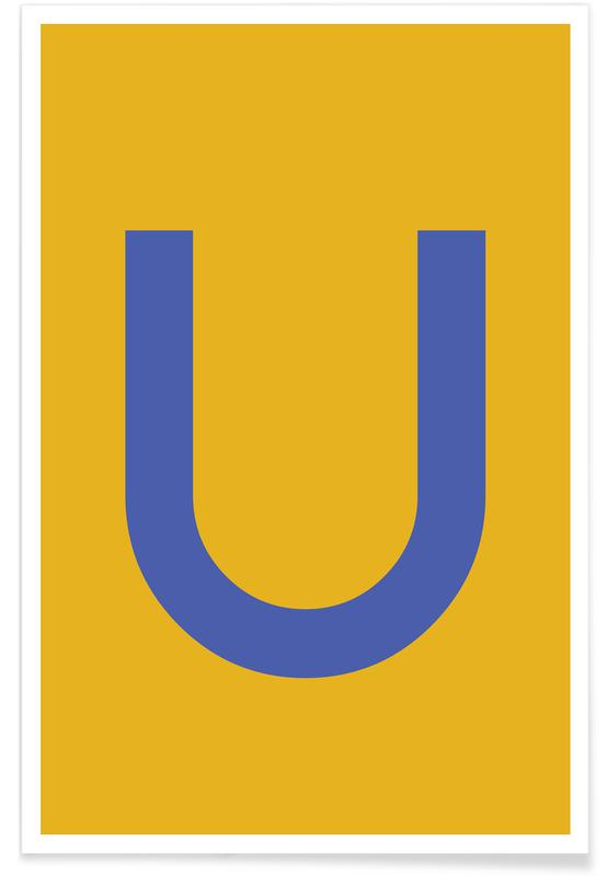 Yellow Letter U Poster