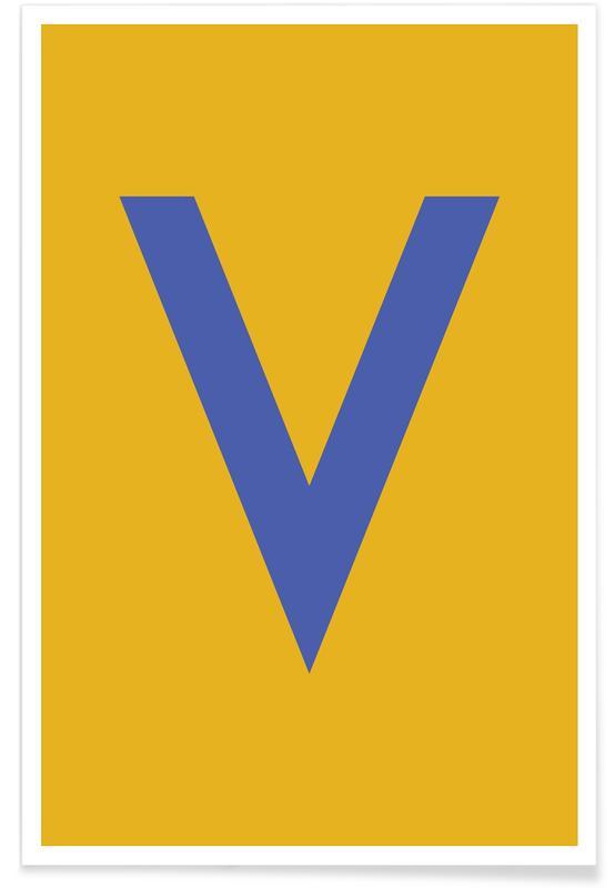Alfabeto & lettere, Yellow Letter V poster