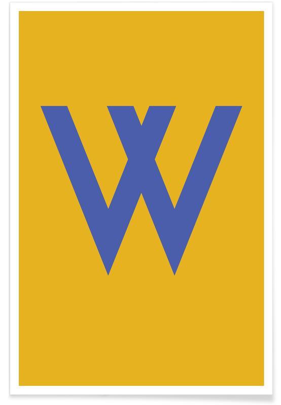 Alfabet og bogstaver, Yellow Letter W Plakat