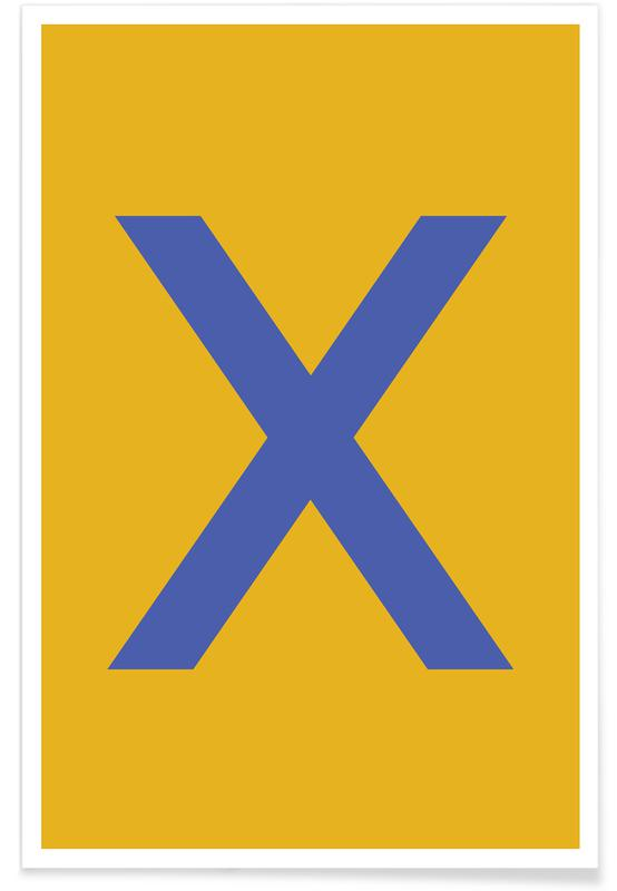Yellow Letter X affiche