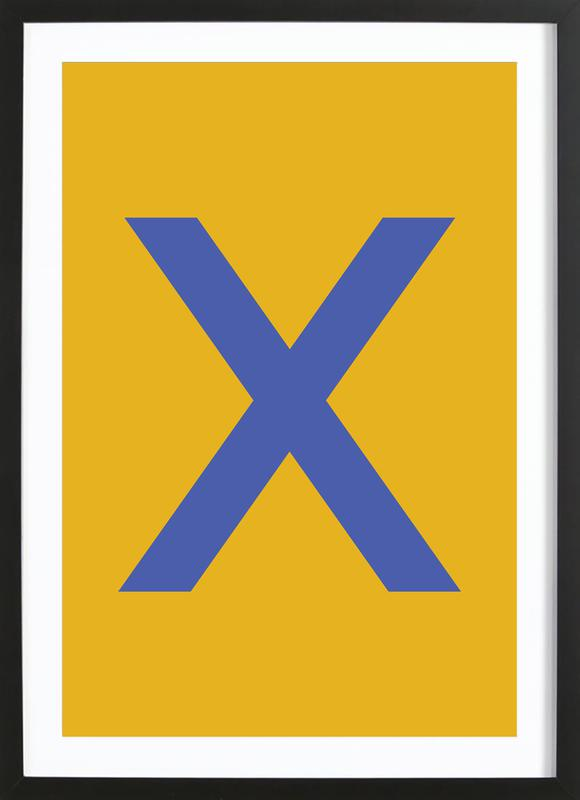 Yellow Letter X Poster i träram