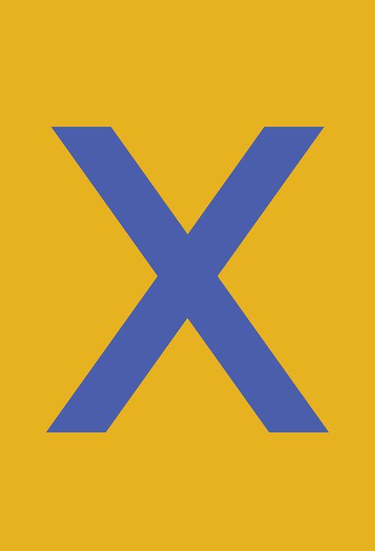 Yellow Letter X Akrylglastavla