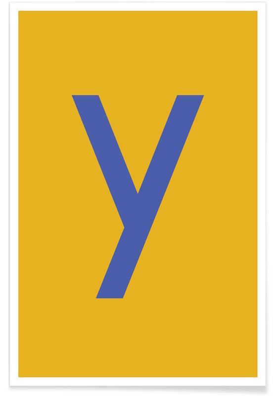 Alfabet og bogstaver, Yellow Letter Y Plakat