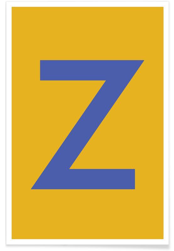 Alfabet og bogstaver, Yellow Letter Z Plakat
