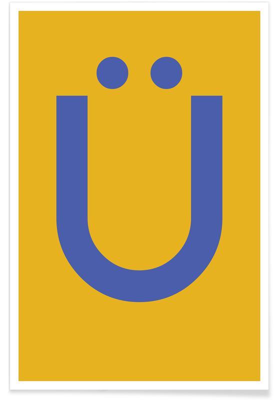 Alfabet og bogstaver, Yellow Letter Ü Plakat