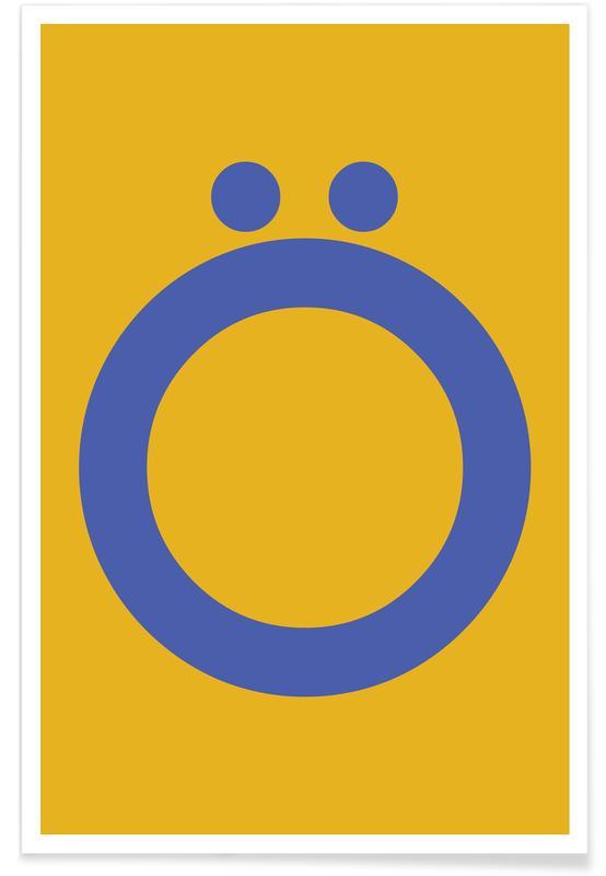 Alfabet og bogstaver, Yellow Letter Ö Plakat