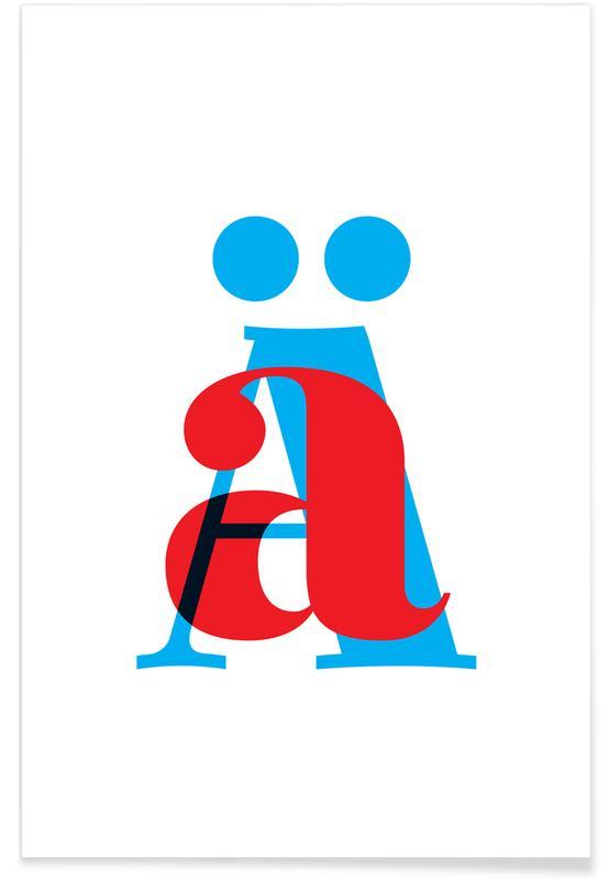 Alfabet og bogstaver, Cyan/Red Ä Plakat