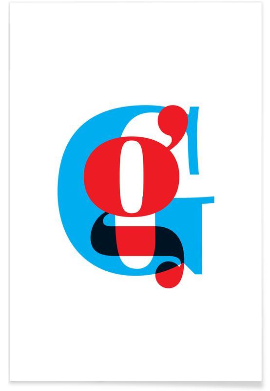 Alfabet og bogstaver, Cyan/Red G Plakat