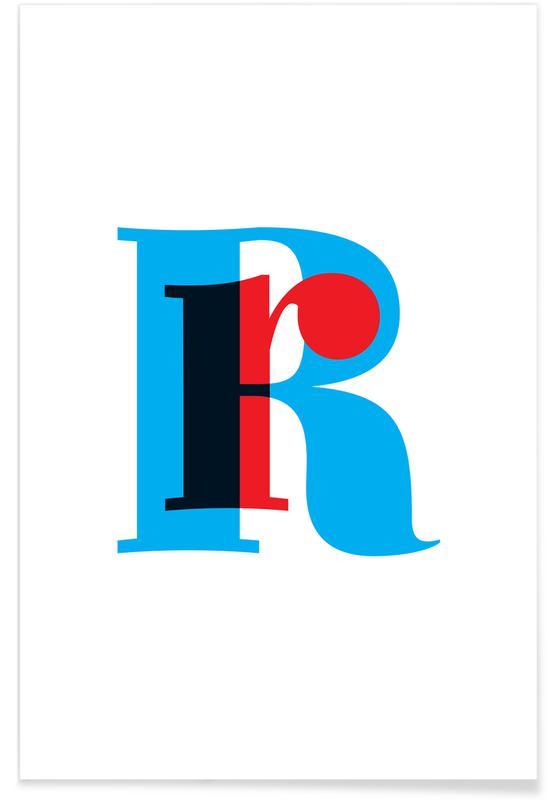 Abecedario y letras, Cyan/Red R póster